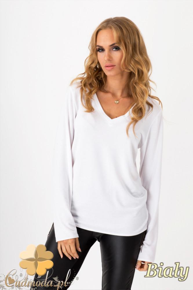 CM1350 Prosty sweterek z dekoltem w serek - biały