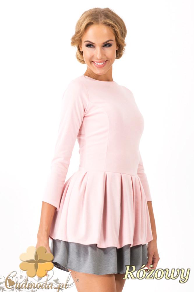 CM1351 Dwukolorowa sukienka z kontrafałdš - różowa