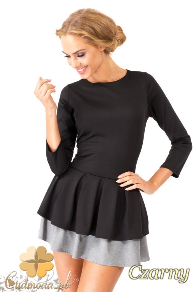 CM1351 Dwukolorowa sukienka z kontrafałdš - czarna