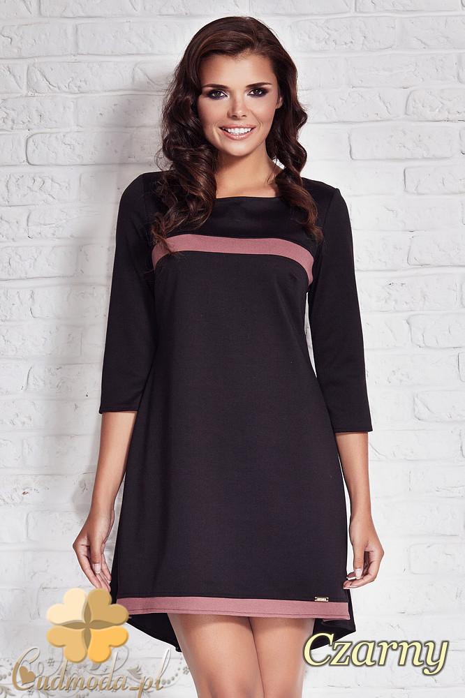CM1407 Asymetryczna sukienka damska z zakładkš - czarna