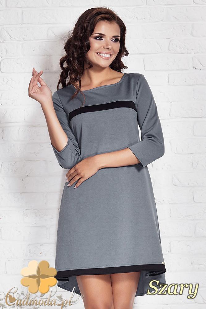 CM1407 Asymetryczna sukienka damska z zakładkš - szara