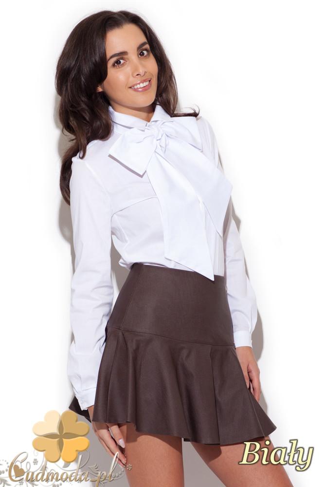 CM1410 Koszula-body damskie z kokardš - biała