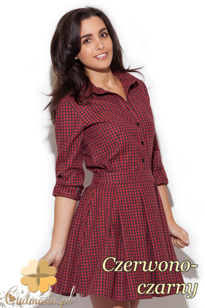 CM1411 Klasyczna koszula damska w kratę - czerwono-czarna
