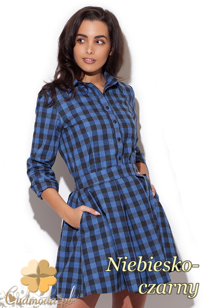 CM1411 Klasyczna koszula damska w kratę - niebiesko-czarna