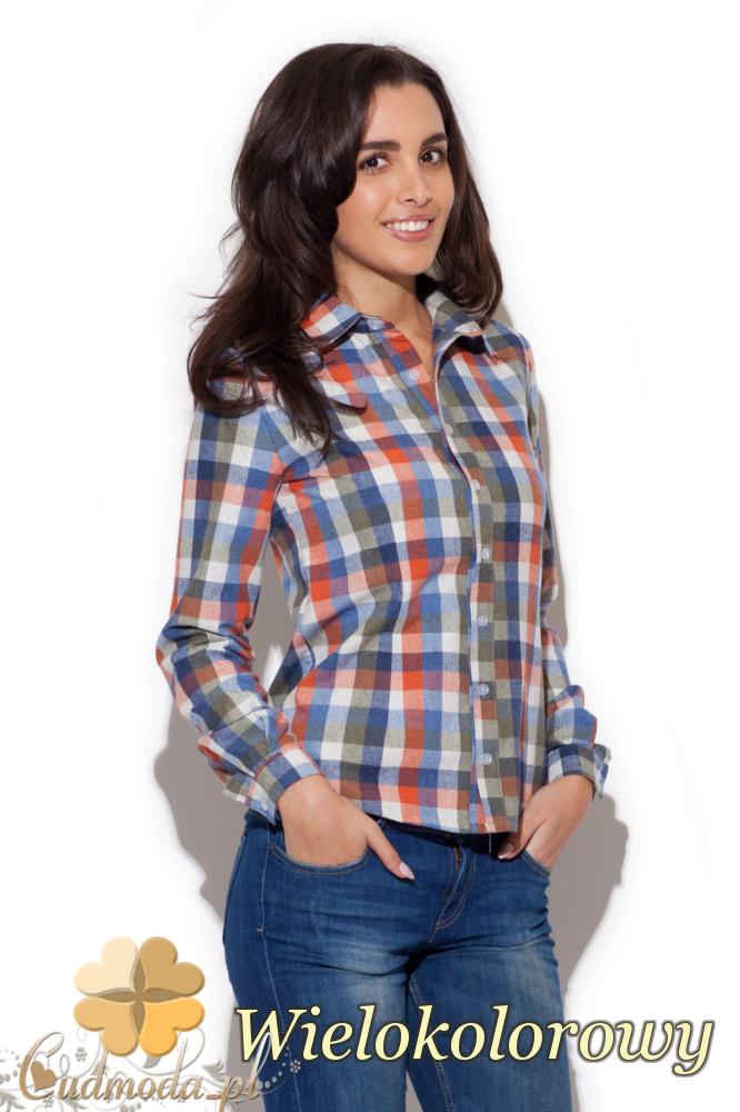 CM1411 Klasyczna koszula damska w kratę - wielokolorowa