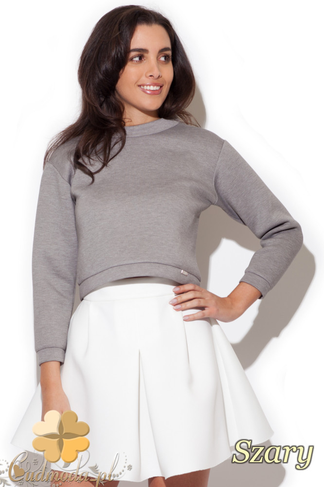 CM1415 Piankowa bluzka damska na stójce - szara