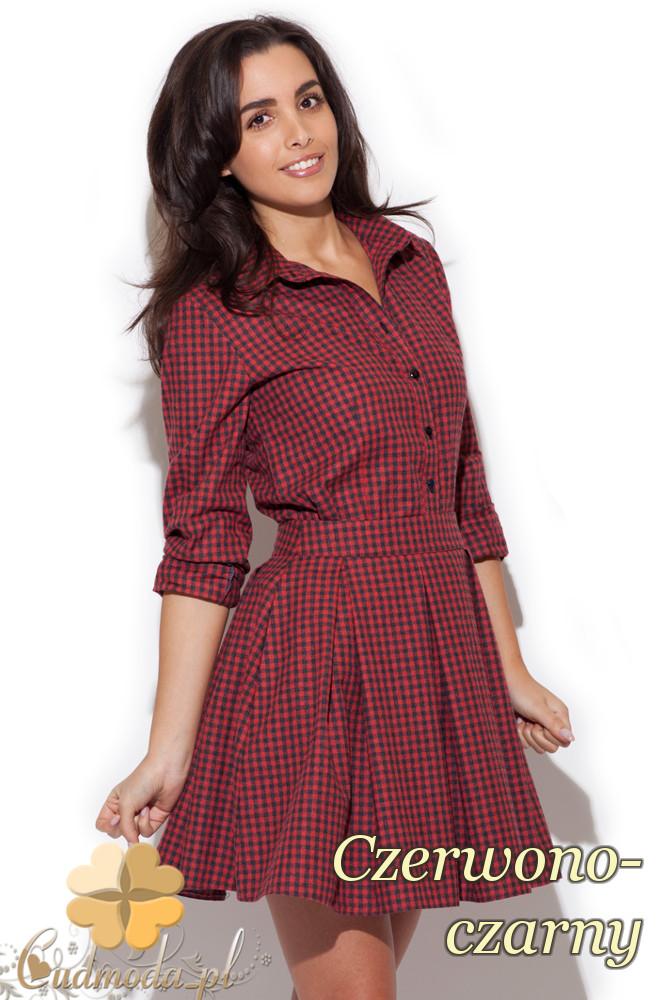 CM1416 Komplet damski - koszula w kratę i spódniczka mini - czerwono-czarna