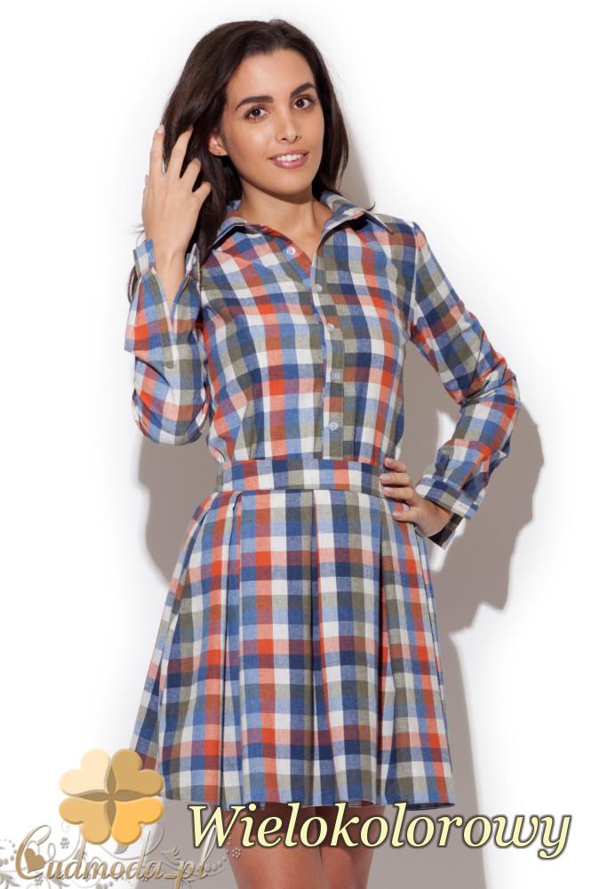 CM1416 Komplet damski - koszula w kratę i spódniczka mini - wielokolorowa