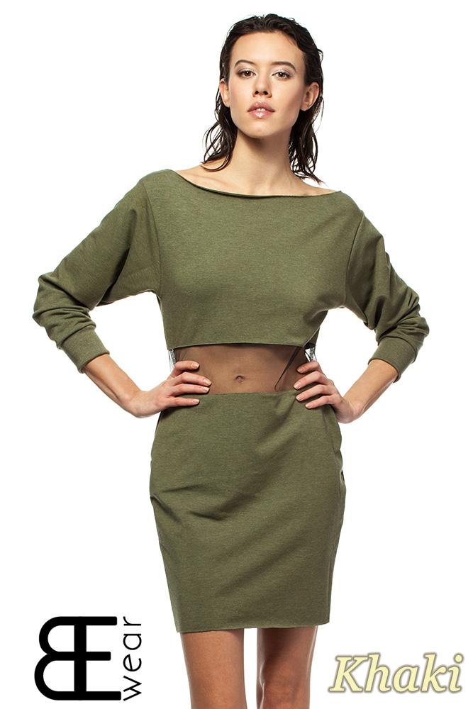 CM1419 Sukienka mini z przezroczystš wstawkš i opadajšcym dekoltem - khaki