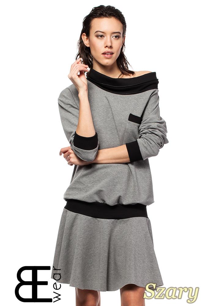 CM1420 Sukienka z obniżonš tališ i œcišgaczem - szara