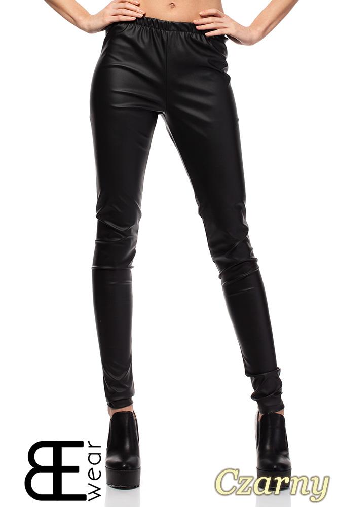 CM1422 Skórzane spodnie damskie - rurki - czarne