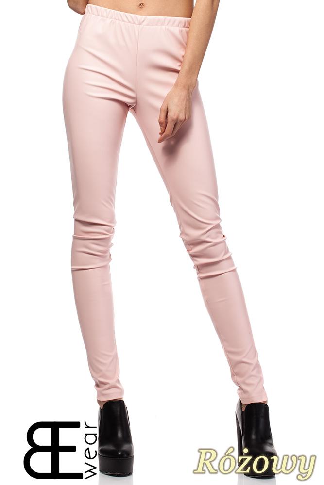 CM1422 Skórzane spodnie damskie - rurki - różowe