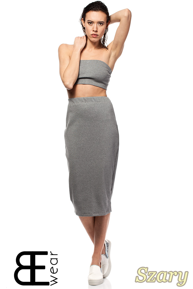 CM1424 Dopasowana spódnica damska ze złotym zamkiem z tyłu - szara