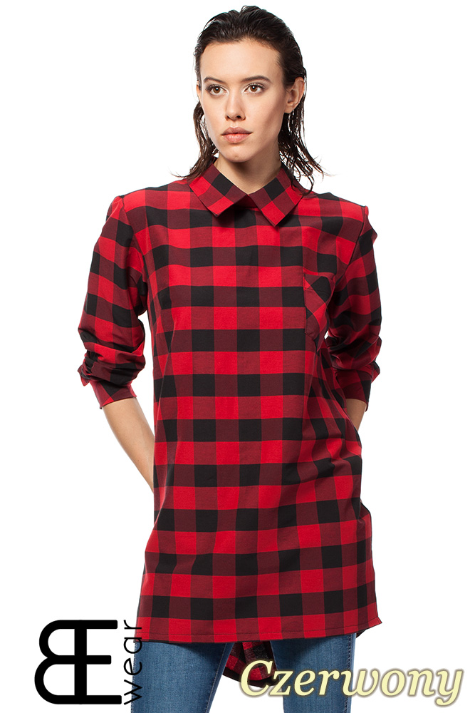 CM1427 Asymetryczna koszula oversize w kratę - czerwona