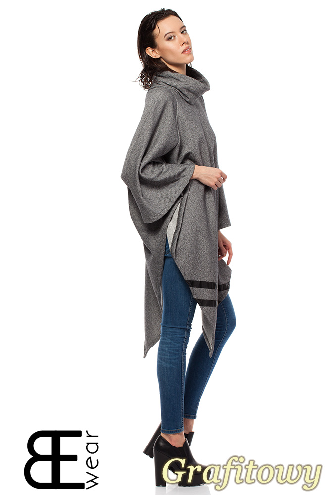 Asymetryczne ponczo damskie z golfem grafitowe cudmoda House kurtki damskie