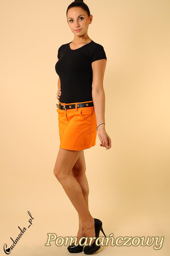 CM0122 Klasyczna prosta mini spódniczka ołówkowa - pomarańczowa