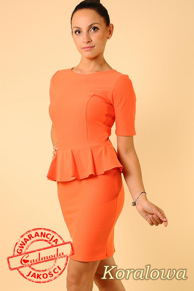 CM0129 Elegancka sukienka ołówkowa z baskinkš - koralowa