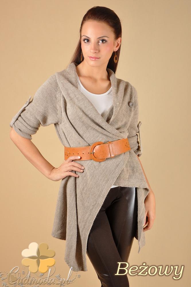CM0134 Długi sweter kardigan ponczo - beżowy