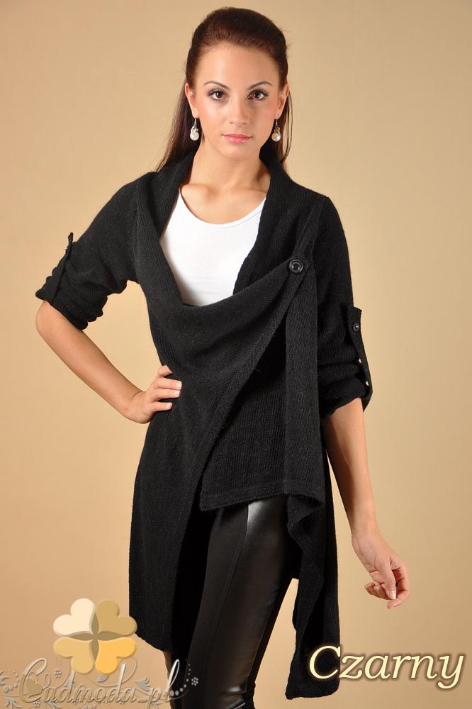 CM0134 Długi sweter kardigan ponczo - czarny