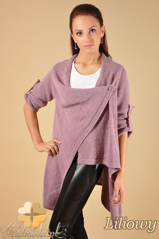 CM0134 Długi sweter kardigan ponczo - liliowy