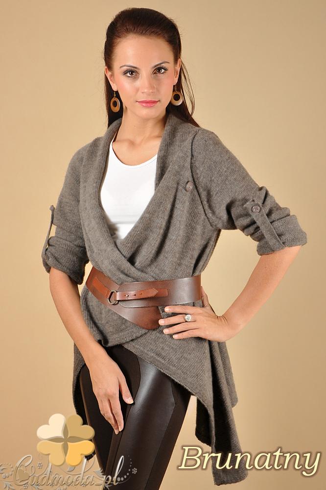CM0134 Długi sweter kardigan ponczo - brunatny
