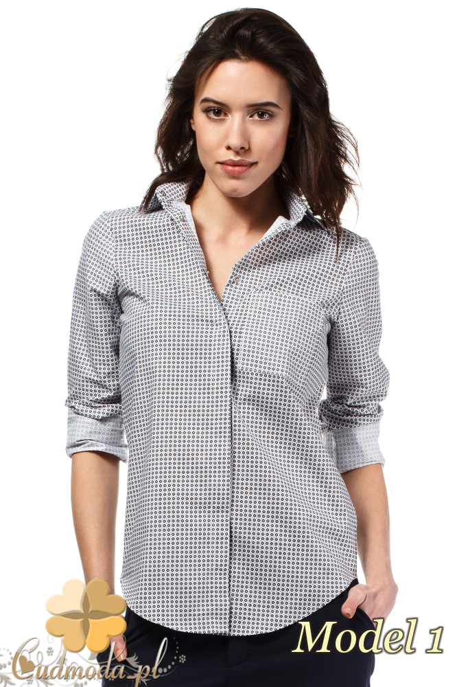 CM1631 Klasyczna zapinana koszula damska - model 1