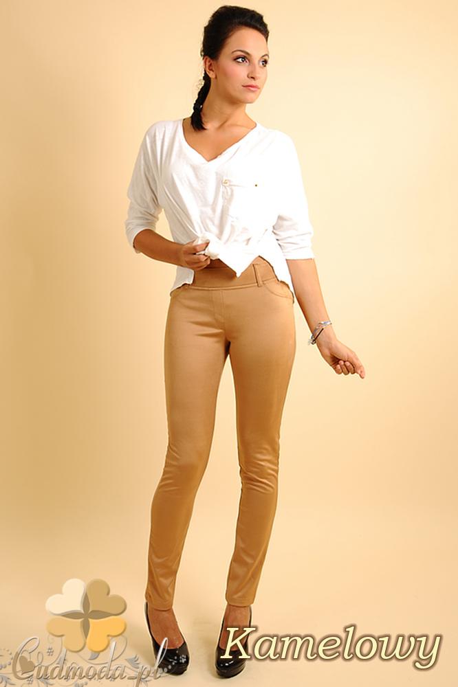 CM0133 Włoskie spodnie rurki  legginsy z zamszu - kamelowe