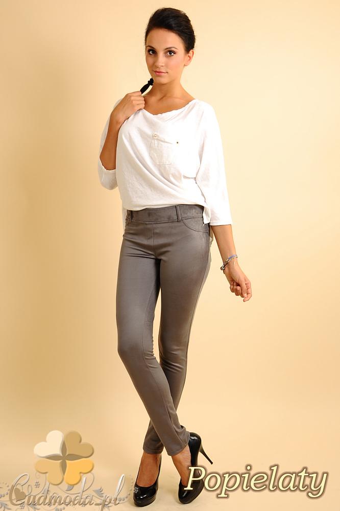 CM0133 Włoskie spodnie rurki  legginsy z zamszu - popielate