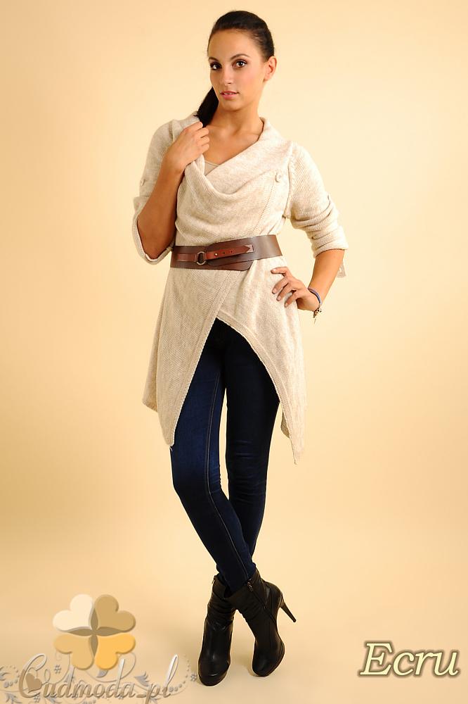 CM0134 Długi sweter kardigan ponczo ecru