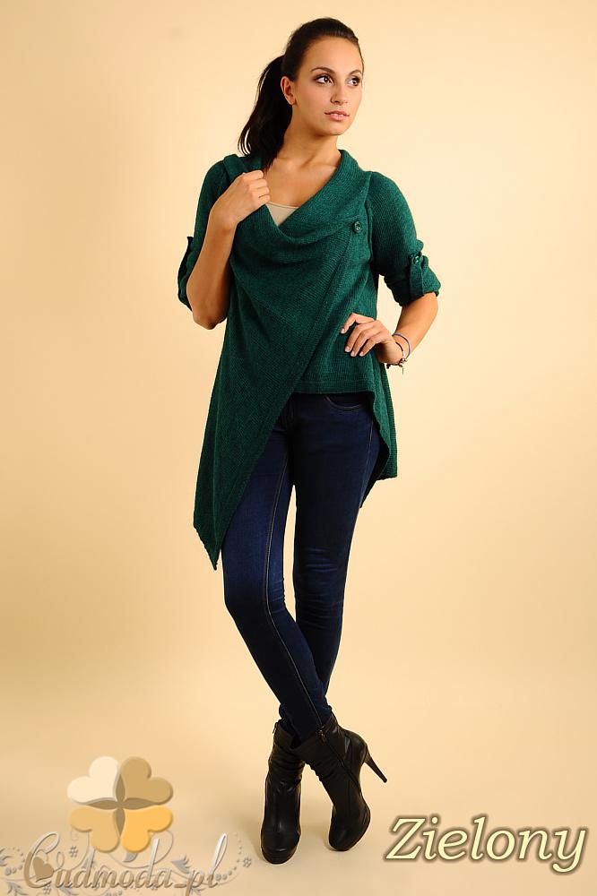 CM0134 Długi sweter kardigan ponczo - zielony