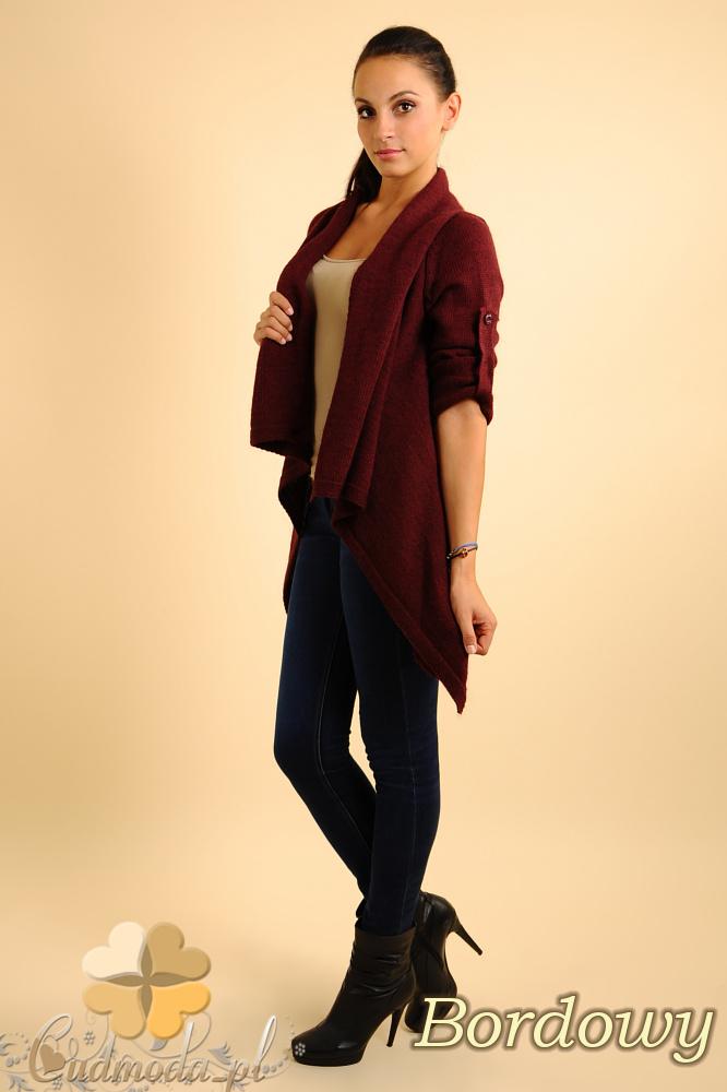 CM0134 Długi sweter kardigan ponczo - bordowy