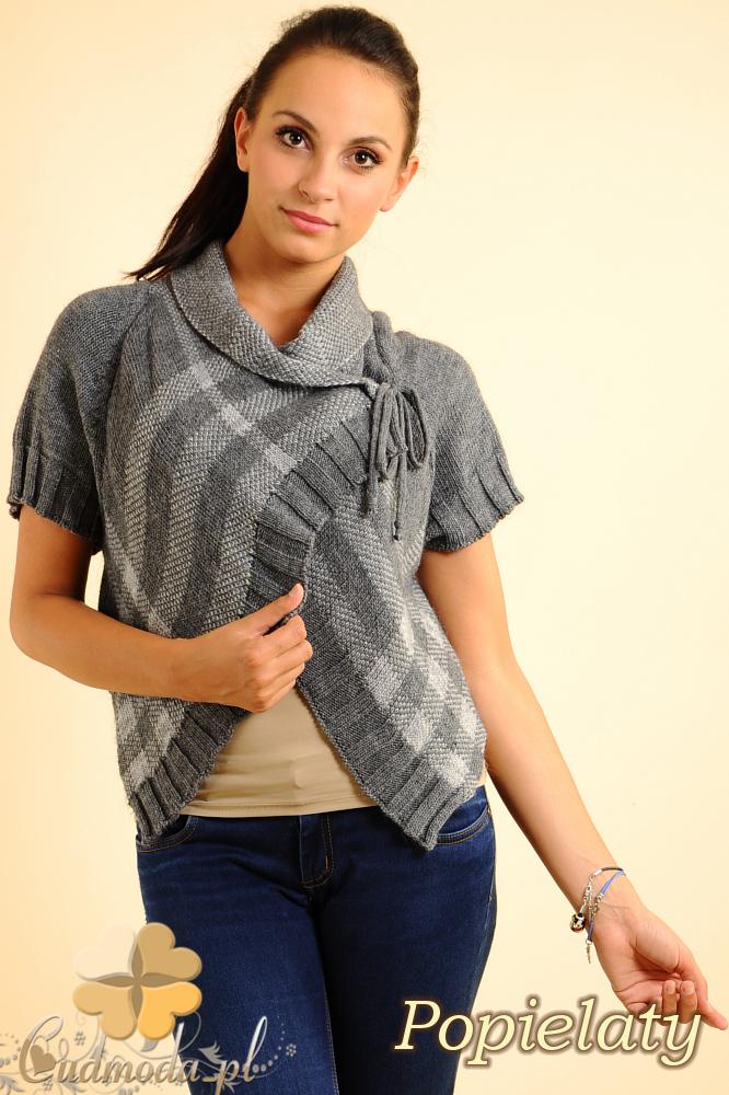 CM0136 Sweterek bolerko w kratę - popielaty