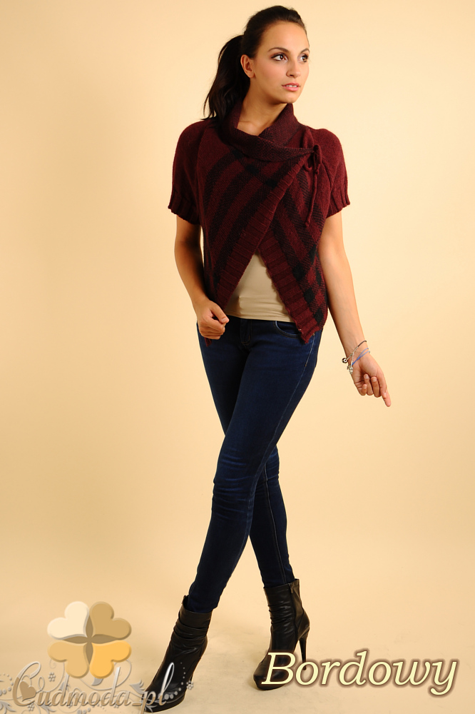 CM0136 Sweterek bolerko w kratę - bordowy