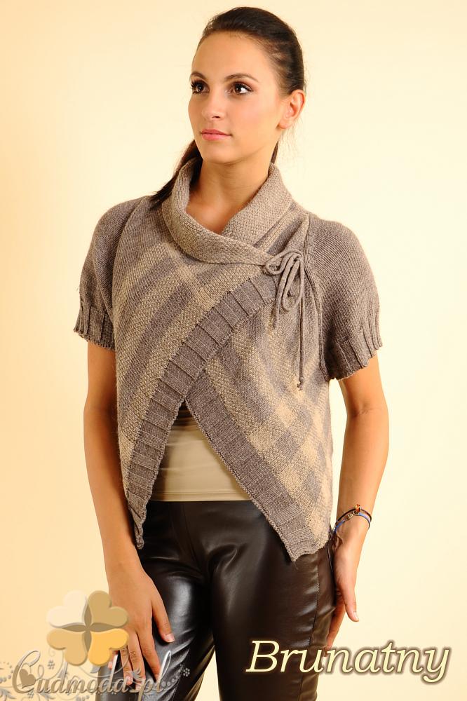 CM0136 Sweterek bolerko w kratę - brunatny