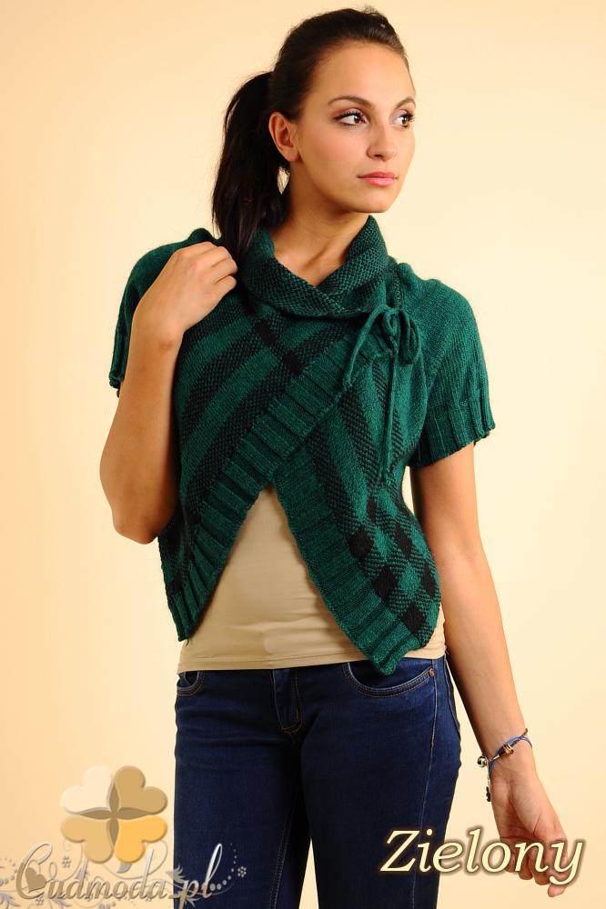 CM0136 Sweterek bolerko w kratę - zielony