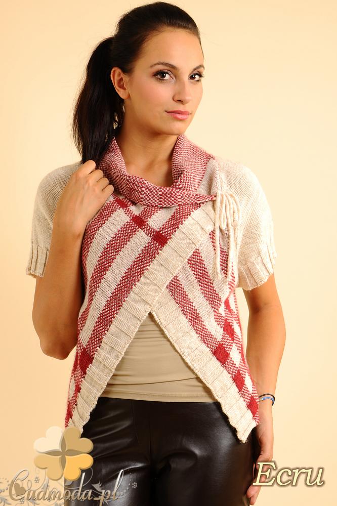 CM0136 Sweterek bolerko w kratę - ecru