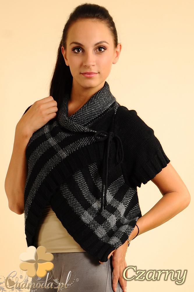 CM0136 Sweterek bolerko w kratę - czarny