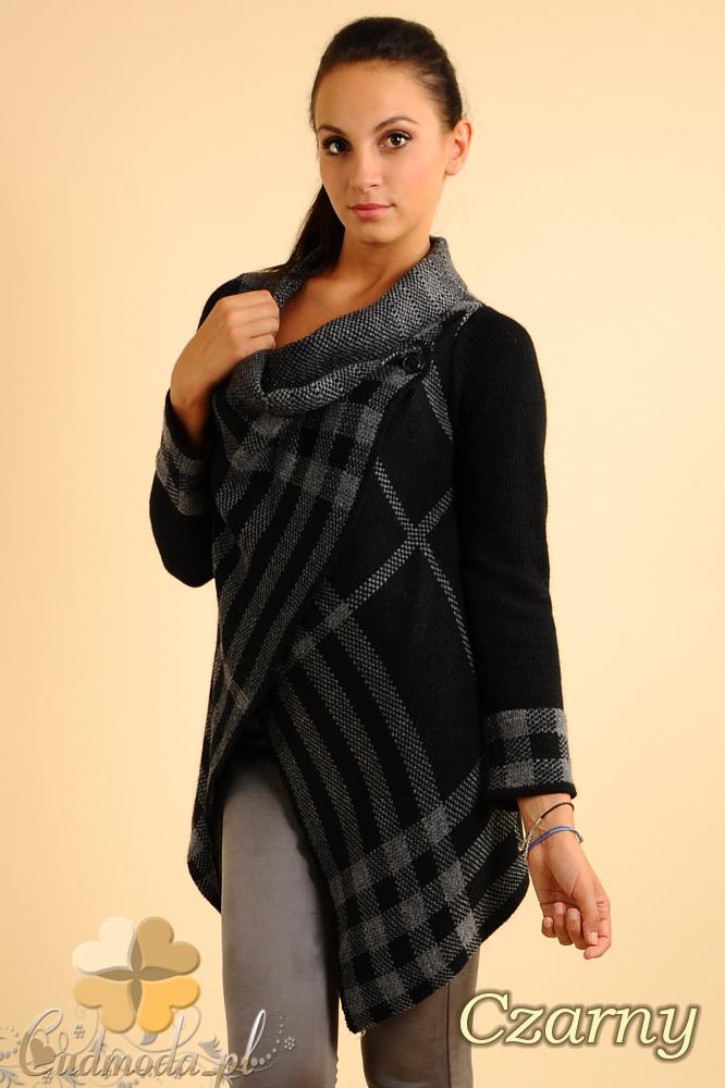 CM0137 Sweter ponczo w kratę - czarny