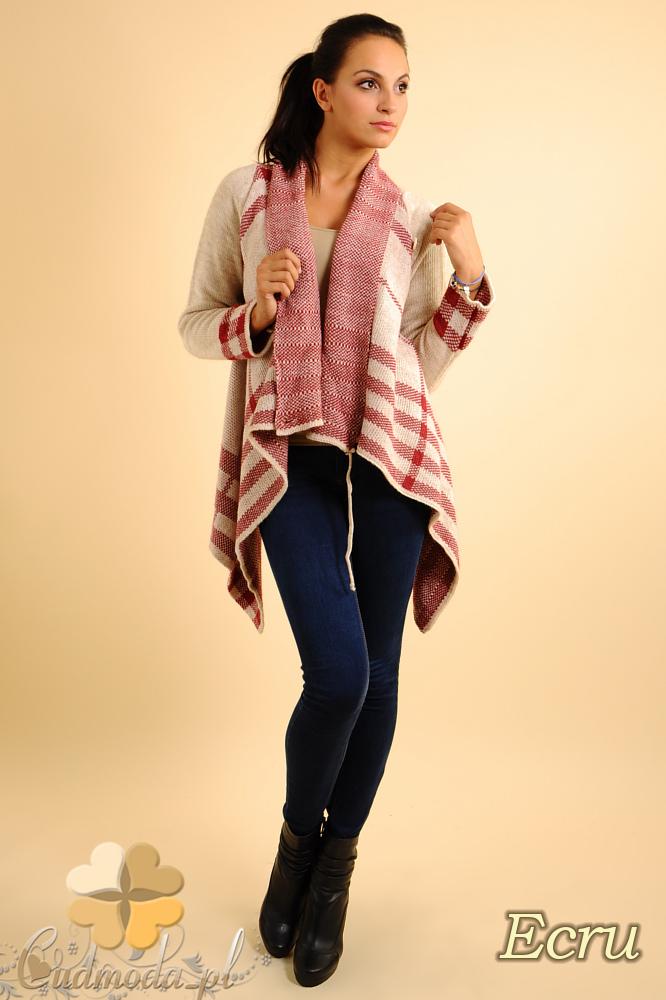 CM0137 Sweter ponczo w kratę - ecru