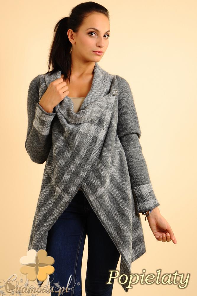 CM0137 Sweter ponczo w kratę - popielaty