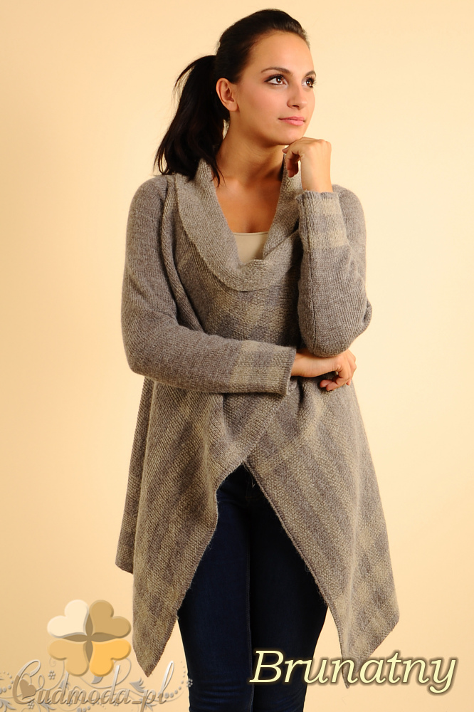 CM0137 Sweter ponczo w kratę - brunatny