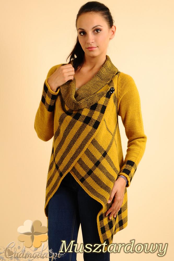 CM0137 Sweter ponczo w kratę - musztardowy