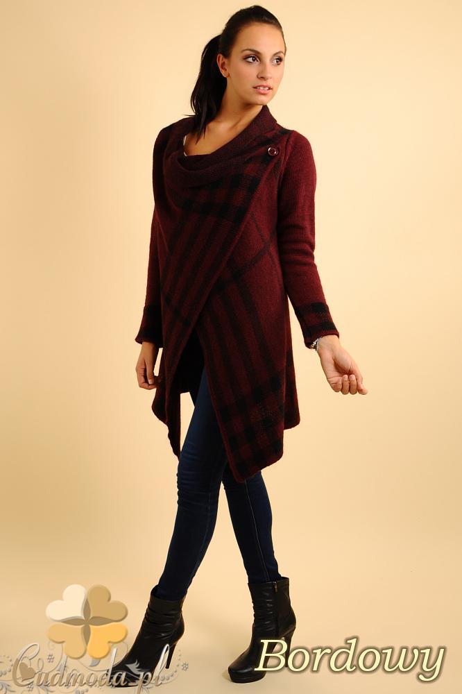 CM0137 Sweter ponczo w kratę - bordowy