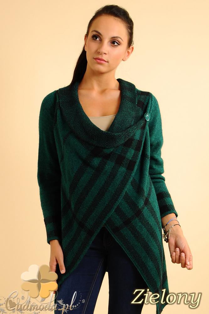 CM0137 Sweter ponczo w kratę - zielony