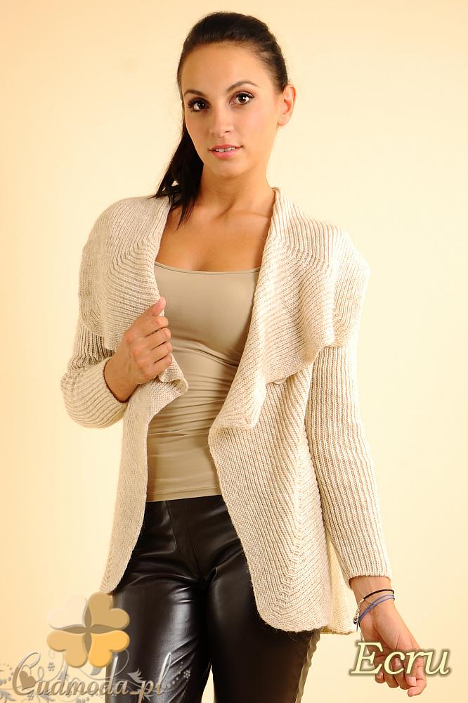 CM0138 Długi sweter z rozkładanym kołnierzem - ecru