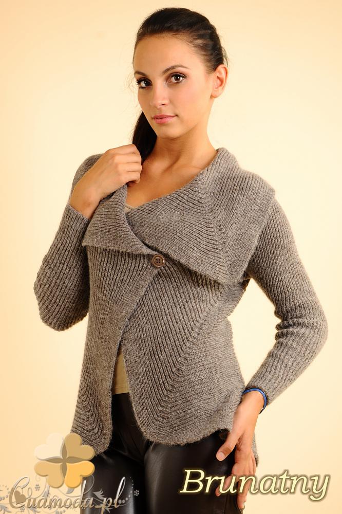 CM0138 Długi sweter z rozkładanym kołnierzem - brunatny