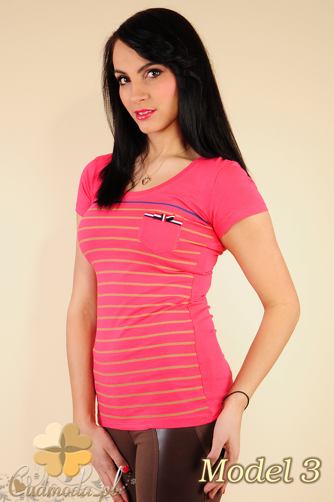 CM0183 Damski t-shirt w paski - model 3