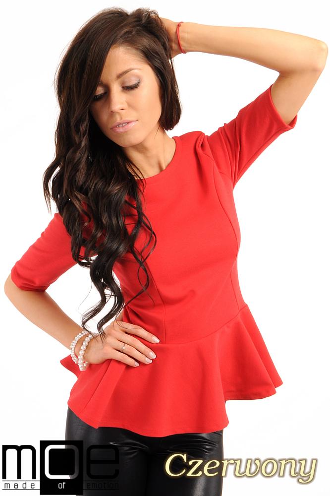 CM0206 Elegancka bluzka z baskinkš - czerwona