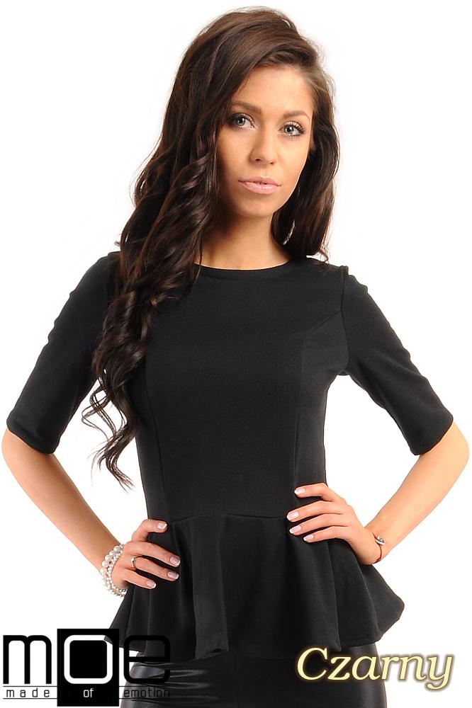 CM0206 Elegancka bluzka z baskinkš - czarna