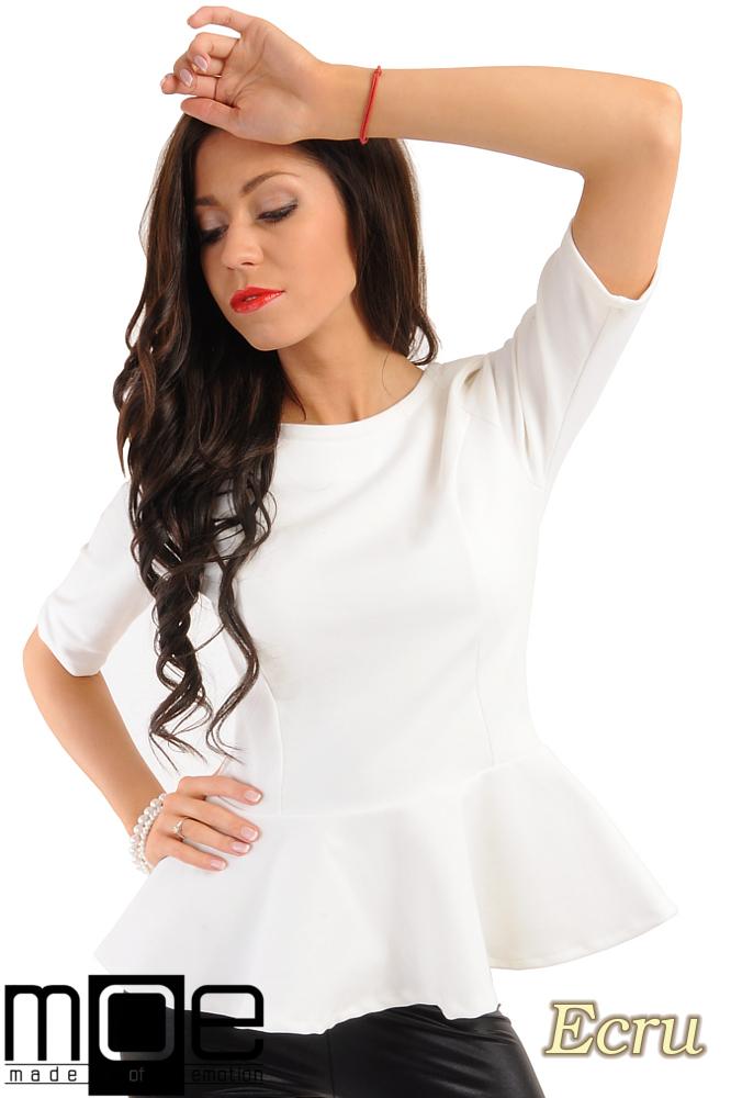CM0206 Elegancka bluzka z baskinkš - ecru
